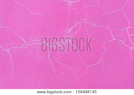 Pink Cement Cracked Wall Texture For Background