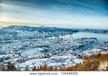beautiful winter view on Bergen. Norway