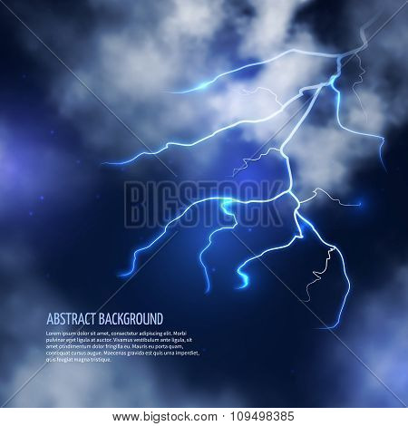 Thunderstorm with clouds and lightnings. Vector abstract background