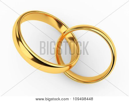 Connected Gold Wedding Rings