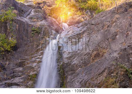 Waterfall In Deep Rain Forest Jungle. (mae Re Wa Waterfalls Mokoju)