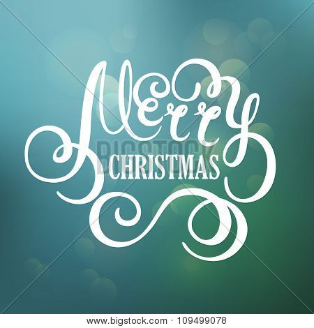 Merry Christmas vector hand lettering for greeting card