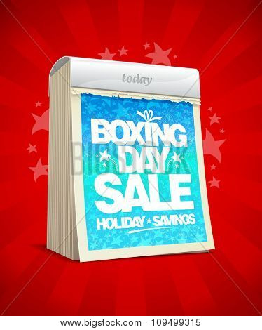 Boxing day sale design in form of tear-off calendar.