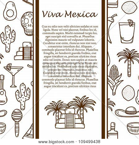 Vector travel concept with hand drawn objects and mexican seamless background on Mexico theme: rum, coctail, sugar cane, coffee, guitar, cigar for your design