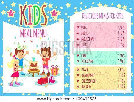 Kids meal menu. Vector template brochure