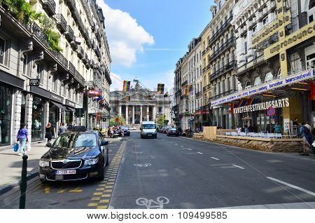 Brussels, Belgium - May 12, 2015: Peoples At Street Approach To Brussels Stock Exchange