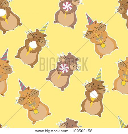 Hamster Party Seamless Pattern