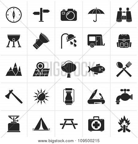 Black Camping and tourism icons