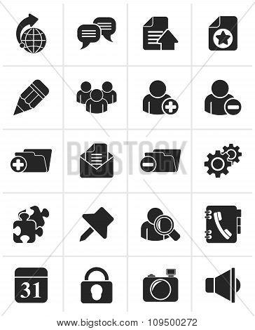 Black Internet blogging icons