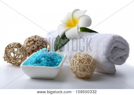 Decorated spa composition isolated on white background