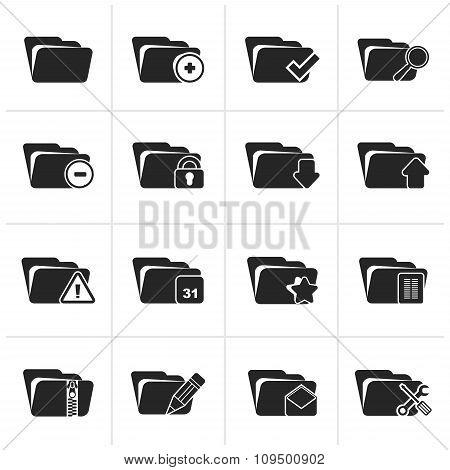 Black Different kind of folder icons