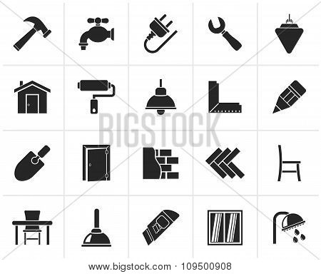 Black Building and home renovation icons