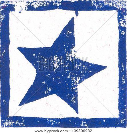 Blue Star - Linocut Print