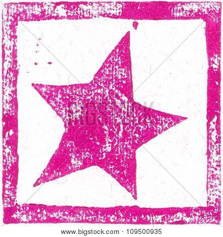 Pink-purple Star - Linocut print