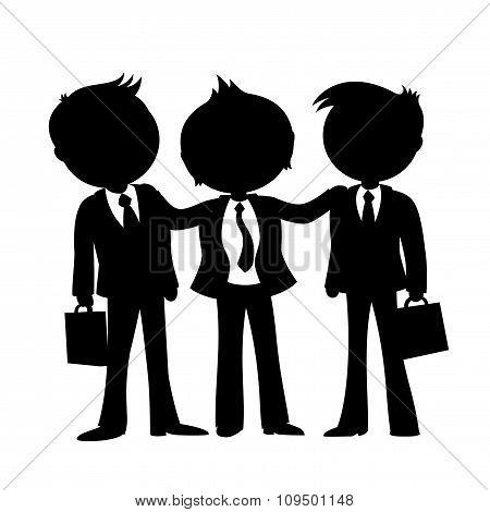 Three businessman sign.