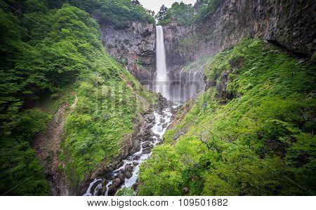 Silk water in bottom of Kegon Falls, Nikko, wide angle