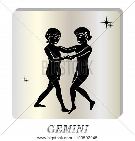 black silhouette of Gemini are on  pearl background.