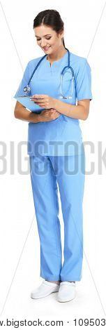 Smiling medical doctor holding a folder isolated on white