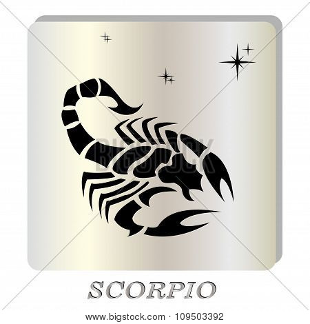 black silhouette of  Scorpio are on pearl background.