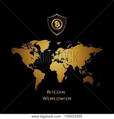 Bitcoin world map golden icon in a circle on a black background. Vector illustration