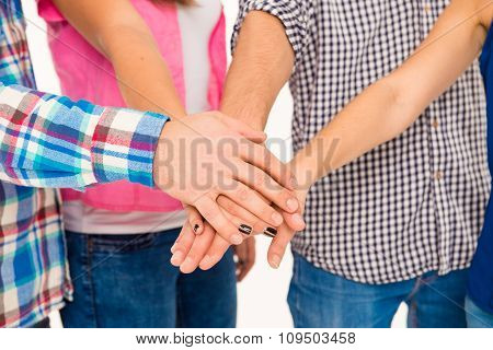 United Group Keeping Hands On Each Hand