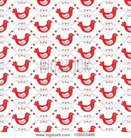 Seamless pattern with scandinavian Christmas red and white decor