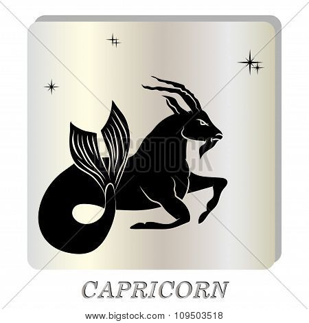 black silhouette of  capricorn are on  pearl background.