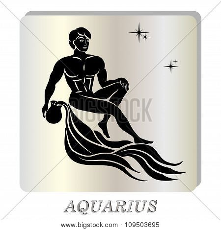 black silhouette of  Aquarius are on  pearl background.