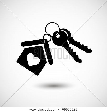 House key black icon for web real estate template. Vector illustrations EPS 10 on an isolated backgr
