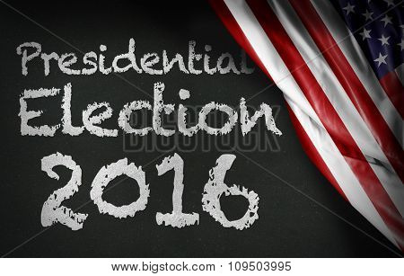 Presidential Election 2016 written on blackboard and the USA flag