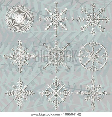 Hand drawn snowflakes