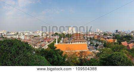 View Of Bangkok And Wat Saket