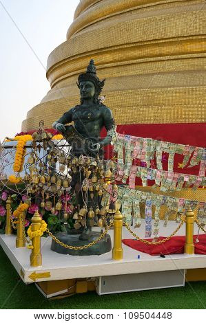 Angel Statue With Golden Stupa