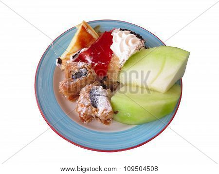 Dessert On Dish - Cakes And Mellon Isolated Over White