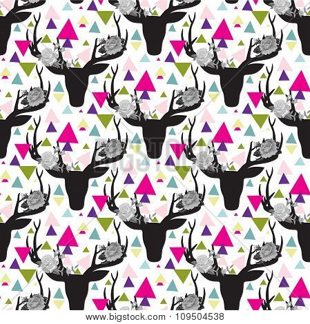 Hipster seamless pattern with triangle, deer horns