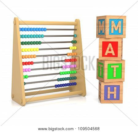 A Childs Abacus And Alphabet Blocks To Represent The Subject Of Learning Math.