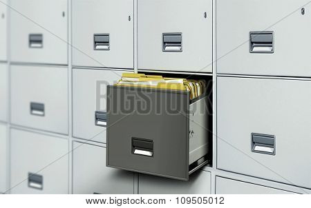 File Cabinet With Open Drawer And Files