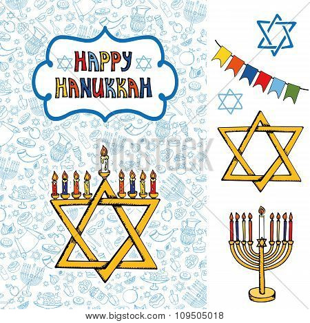 Hanukkah greeting card.Doodle Jewish Holiday symbols