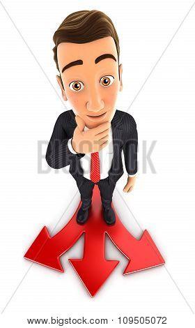 3d businessman difficult choice