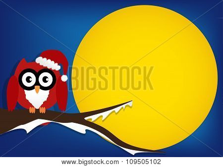 Red Owl On Maple Tree With Wearing A Red Santa Claus Hat In Night With Big Moon On Blue Background.