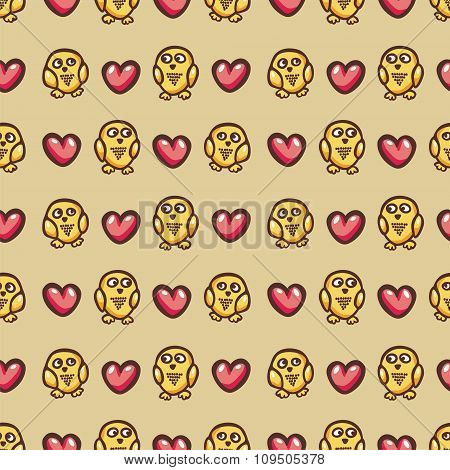 seamless texture with owls and hearts