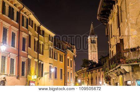 Ponte Di Pietra Street, Campanile Of Santa Anastasia Church - Verona