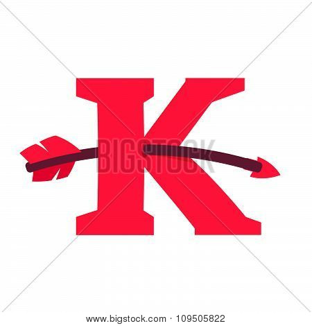 K Letter With Curved Arrow.