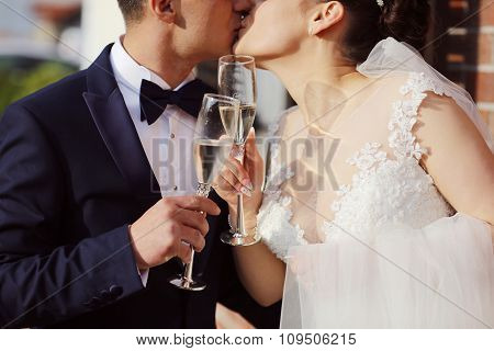 Beautiful Bridal Couple Celebratin With A Glass Of Champagne