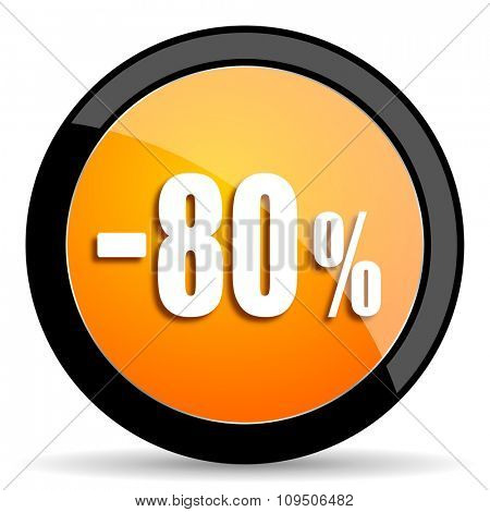 80 percent sale retail orange icon