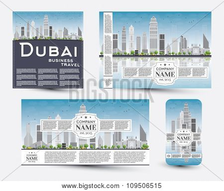 Corporate Identity templates set with Dubai skyline. Vector illustration. Business travel and tourism concept with place for text. Image for presentation, banner, placard and web site.