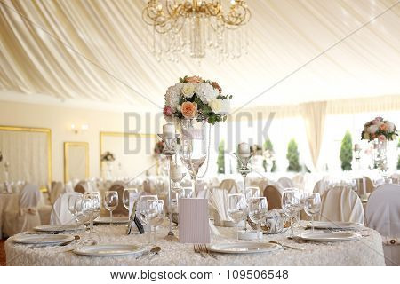 Elegant Wedding Table With Flower Decoration