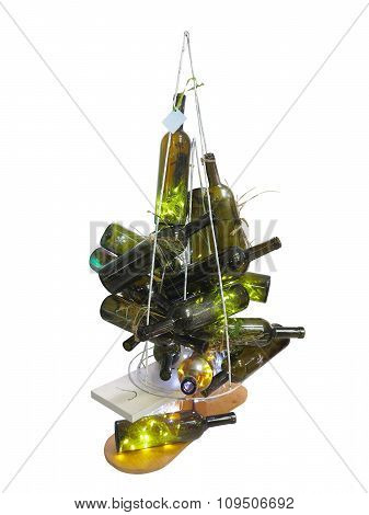 Abstract Creative Christmas Tree Made Of Bottles Isolated Over White Background