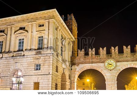 The Gates Of Bra And Grande Guardia Palace In Verona