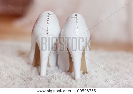 Elegant Bride's Shoes On Carpet